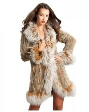 RABBIT FUR KNITTED COAT WITH MONGOLIAN SHEEP FUR TRIM Black