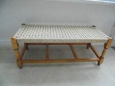 Vintage long double rattan stool, cream string woven seat, 1960's bench