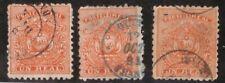 Ecuador,Scott#10,1r,3 stamps,used