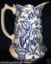 JAMES KENT ENGLAND FENTON AZALEA PITCHER 32 OZ BLUE & WHITE FLOWERS