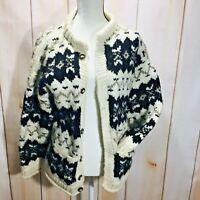 Nuevo Americana Hippie Women's Cardigan Sweater Size Small 100% Wool