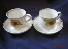 DENBY MINSTREL ROMANY 2 X TEA CUPS AND SAUCERS