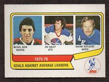 1976-77 OPC WHA #6 Goals Agaunst Average Leaders Dion Daley Rutledge NM