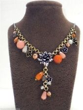 Fossil Flower Charm Necklace $75 Multi Tone Blossoms Beads New! NWT