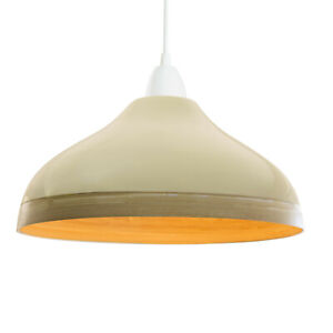 Natural bamboo pendant lampshade with gloss lacquer exterior (Cream)