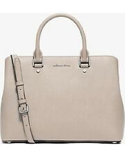 New Michael Kors Savannah Saffiano Leather Large Satchel cement silver bag tote