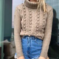 J crew Wallace wool beige pompom cableknit turtleneck sweater womens xs