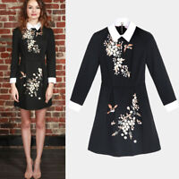 New AUTH Ted Baker ELLAN Collared Dress Black Embroiderd