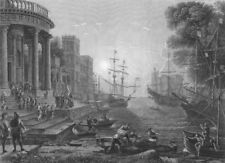 A SEA PORT AT SUN. SET. with the Embarkation of St Ursula. Claude Lorraine 1835