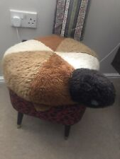 Vintage Brown Turtle Tortoise Pouffe Footstool Faux Fur 1960s 1970s Retro