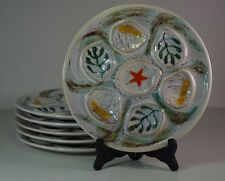 Set of 6 Vintage French Pornic Oyster Plate Majolica France Hand Painted