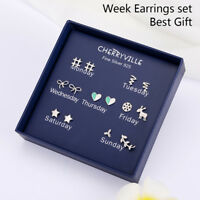 7Pairs/Box One Week925Sterling Silver Needle Earrings Ear Studs Jewelry GiftTFSU