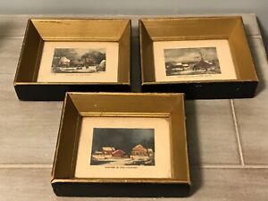 3 Vintage Small Framed CURRIER & IVES Lithograph Prints Winter Scenes