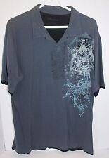 Structure Premium Grey Cotton Graphic Short Sleeve T- Shirt Top L