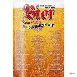 Tin Sign Beer ordering Worldwide Decoration 20 x 30 cm metal advertising Vintage