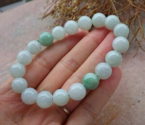 Certified Green 100% Natural A JADE Jadeite Bead Beads Bangle Bracelet 手链 668821