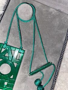 Authentic $395 LALIQUE Jade Green Deco Letter Crystal Pin Pendant Necklace NIB