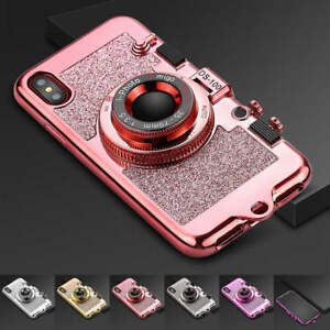 iPhone X /XS / 10S - Hard TPU Rubber 3D CAMERA Glitter Case Cover Mirror Lanyard
