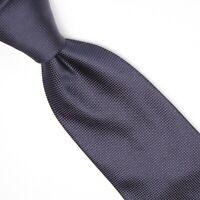 Gladson Mens Silk Necktie Solid Navy Blue Grid Textured Weave Woven Tie Italy