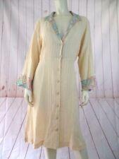 Winter Sun Dress or Long Top M New Yellow Sheer Cotton Textured Ecuador Boho