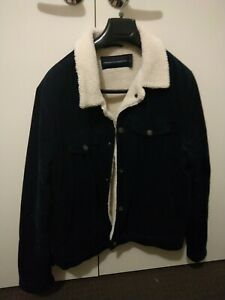 French Connection Navy Men's Sherpa Trucker Jacket - Large