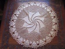 "(1) Beautiful Vintage 17"" Round Ecru/Cream Colored Hand Crochet Doily"