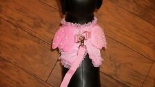 dog pet harness+leash,step-in,pink,angel's wings,Medium*(read details for size)