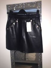 LIPSY MICHELLE KEEGAN BLACK  LEATHER LOOK SKIRT SIZE UK 8