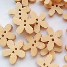 100stk Holz Knopf Knöpfe Holzknöpfe Kinderknopf Buttons Blume Form Nähen