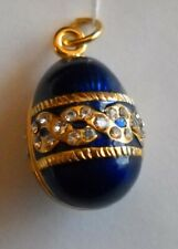 Russian Egg Faberge Pendant Blue Sterling Silver enamel Gold (crafted) and COA