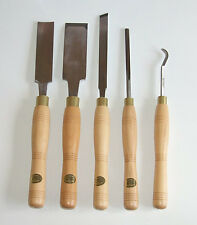 Set 5 pole lathe wood turning tools made by Ashley Iles. Green woodworking.