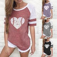 Summer Women's T-shirt Casual Striped Printed Round Neck Short Sleeve Shirt