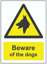 2 Pack Beware of the Dogs WARNING SAFETY STICKERS Signs for Doors, walls Windows