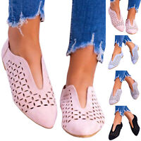 Womens Lady Cut Out Casual Loafers Flats Pointed Toe Slip On Sandals Pumps Shoes