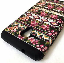 For Alcatel One Touch Fierce XL - HYBRID IMPACT ARMOR CASE PINK BLACK FLOWERS