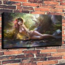 Mermaid Woods Creek Art Print Oil Painting on Canvas Home Decor 16x24