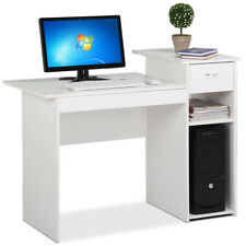 White Wood COMPUTER DESK w/ Drawer Student Work Home Office Furniture Table