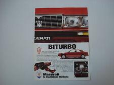advertising Pubblicità 1982 MASERATI BITURBO