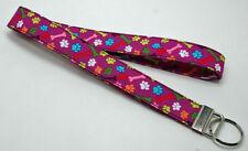 Bones & Paw Prints on Purple Lanyard Key Chain Ring Handmade Custom Designer