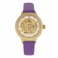 Empress Alice Automatic MOP Skeleton Dial Leather-Band Watch - Purple