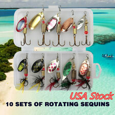 10pcs Fishing Lures Spinnerbaits Bass Trout Salmon Hard Metal Spinner Baits +Box