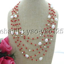 "S092506 19"" 5 Strands White Rice Pearl Red Crystal Necklace"