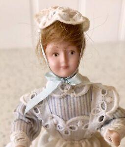Dolls house miniature 1:12 porcelain nanny doll + stand