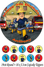Personalised 19cm Round + 10x 3.5cm Fireman Sam Edible WAFER Cake Topper