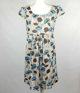 MARILYN MOORE Shift Dress 14 Blush Abstract Floral Gathered Skirt Pockets Cotton