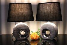 2 Lampen Tischleuchte schwarz silber Nachttischlampe Tischlampe Keramik