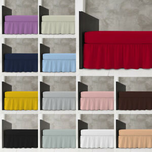 Plain Dyed Fitted Valance Sheet Poly Cotton Bed Sheet Single Double & King Size