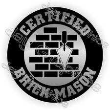 Certified Brick Mason Hard Hat Sticker Safety Helmet Decal Label Badge Masonry