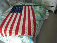 VINTAGE 48 STAR FLAG AND EARLY TWO PART FLAG POLE, 1930'S