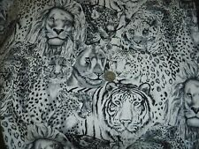 "2yds x 44"", Robert Kaufman, Black & White, ""Wild Animals"", Cotton Fabric"